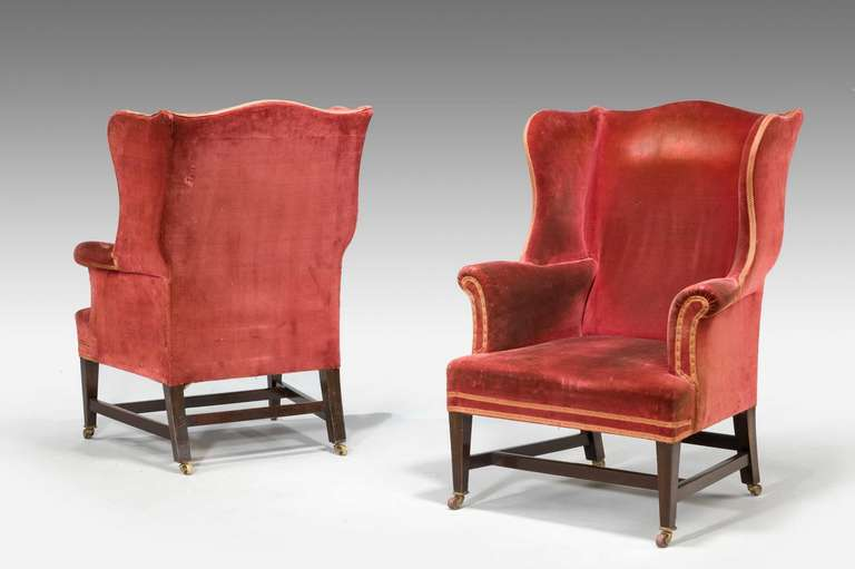 British Pair of Chippendale Design Wing Chairs For Sale