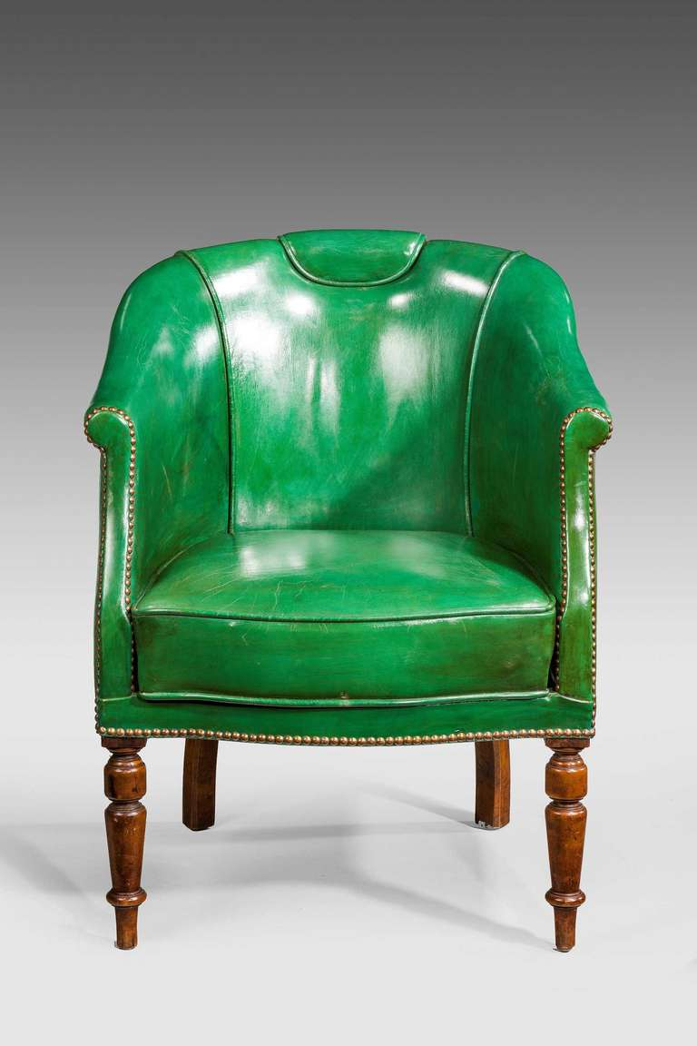 19th Century Green Leather Chair at 1stdibs