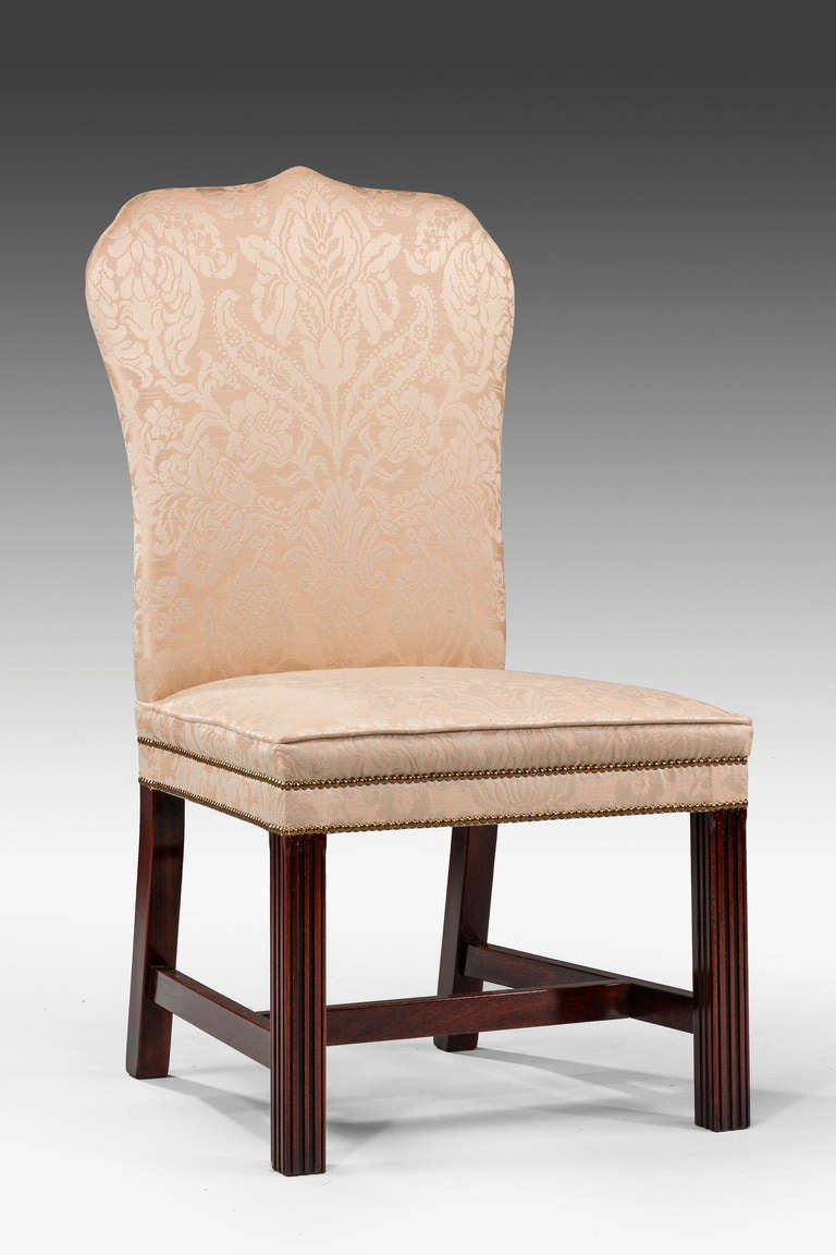Pair of mahogany framed Chippendale design chairs of our own manufacture. Modern.  RR