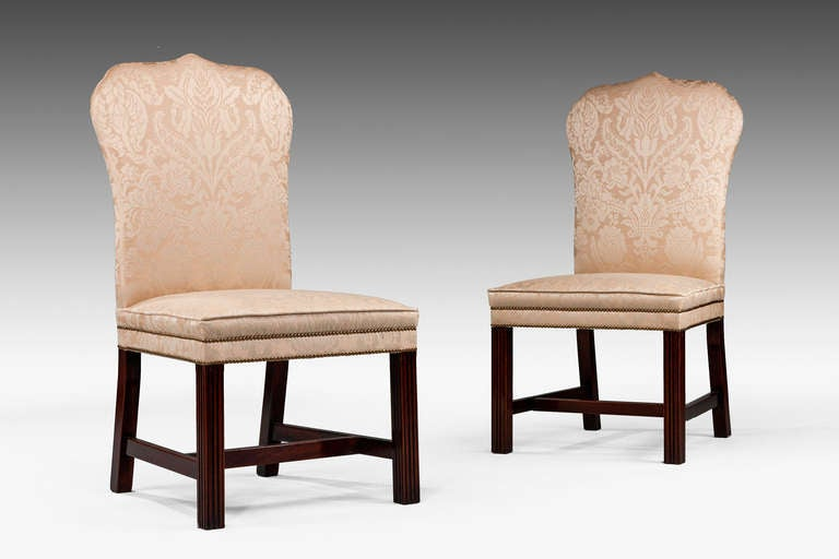British Pair of Mahogany Framed Chippendale Design Chairs For Sale