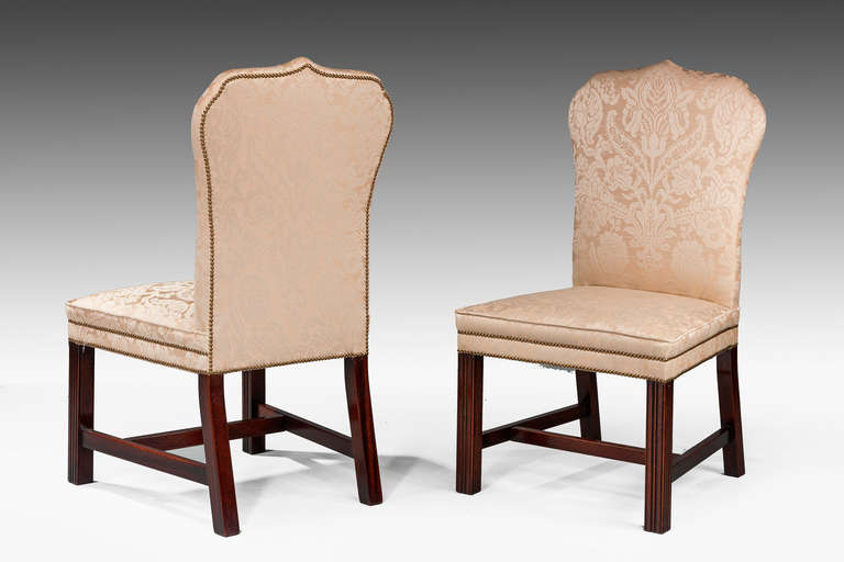 Contemporary Pair of Mahogany Framed Chippendale Design Chairs For Sale