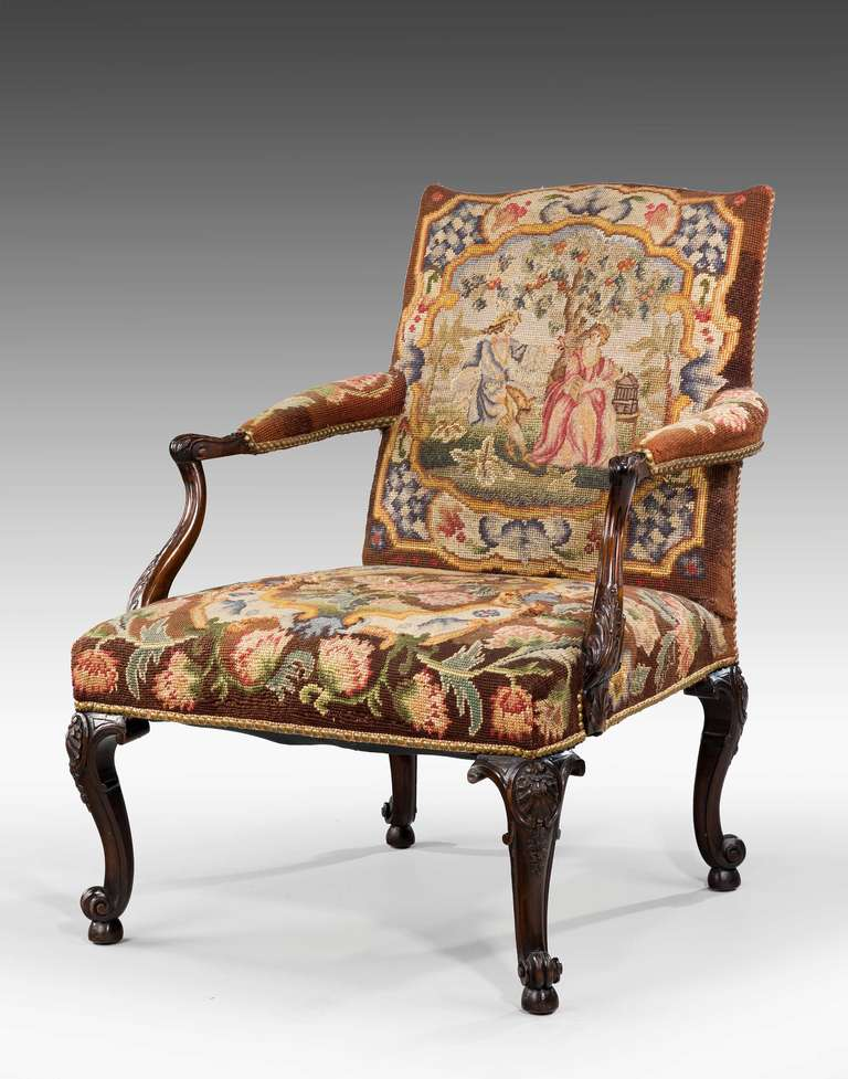 19th century mahogany 'Gainsborough' chair on well carved cabriole supports  terminating on scroll feet - 19th Century Mahogany Gainsborough Chair For Sale At 1stdibs