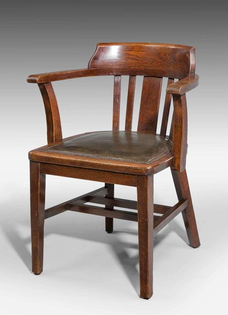Oak Desk Chair, 1920s, Sturdy Construction.