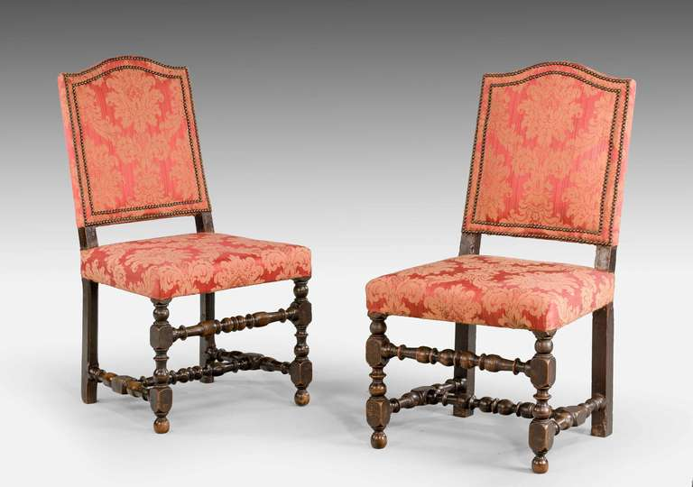 British Set of Six 17th Century Style Walnut Chairs For Sale