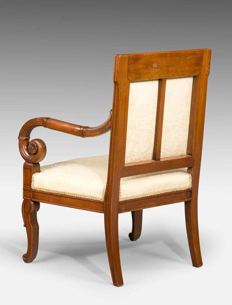 Pair Of 19th Century Restoration Period Mahogany Framed Chairs For Sale At 1stdibs