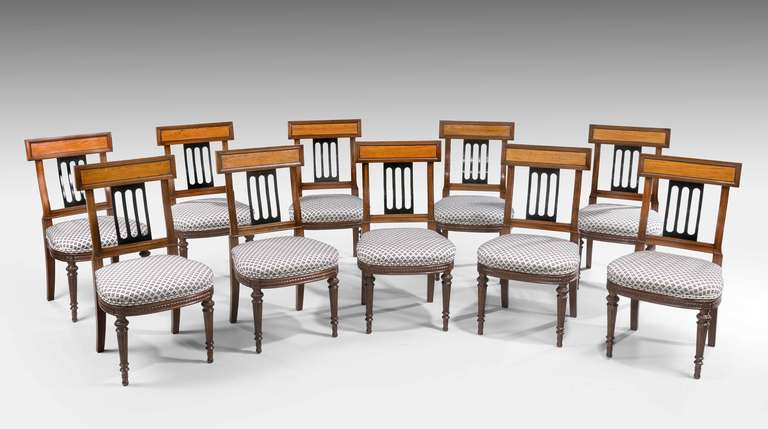 British Set of Ten 19th Century Mahogany and Satinwood Dining Chairs For Sale