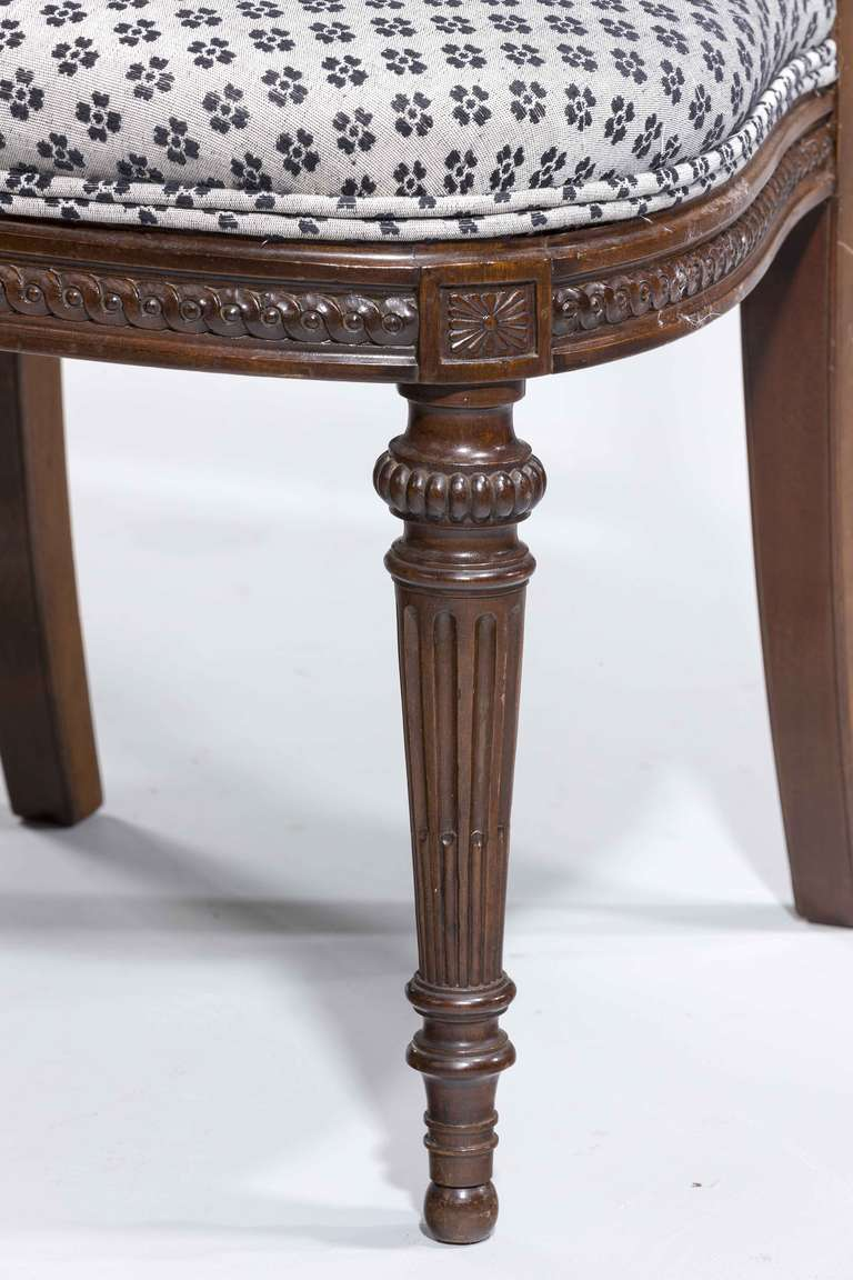 Set of Ten 19th Century Mahogany and Satinwood Dining Chairs For Sale 1