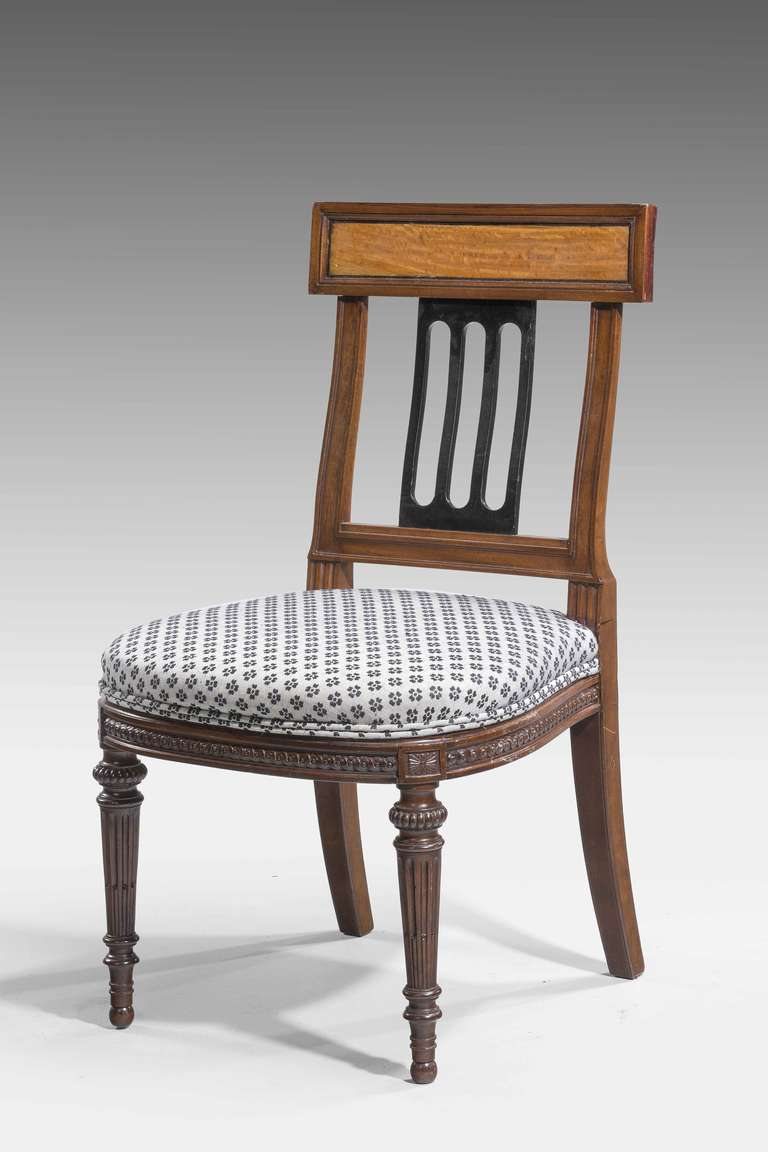 Set of Ten 19th Century Mahogany and Satinwood Dining Chairs For Sale 2