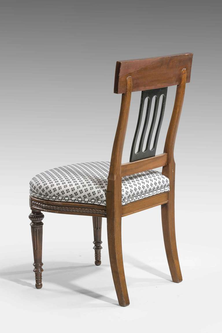 Set of Ten 19th Century Mahogany and Satinwood Dining Chairs For Sale 3