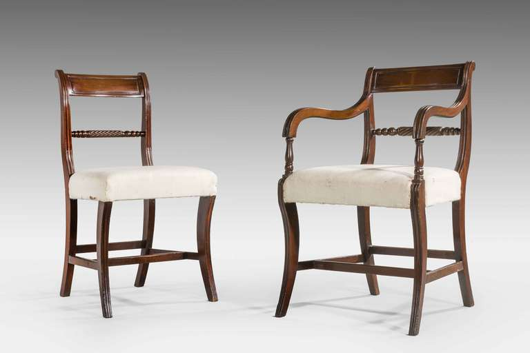 Set of eight regency dining room chairs at 1stdibs for Regency furniture living room sets