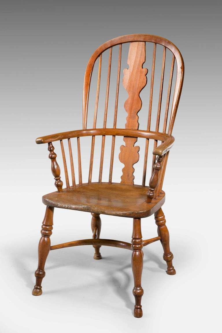 Mid-19th century elm and ash high back windsor chair with crinoline stretcher Provenance & Mid-19th Century Elm and Ash High Back Windsor Chair at 1stdibs