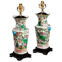 Pair of Well Painted, Octagonal Shaped Canton Lamps