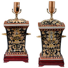 Pair of Crackle Ware Waisted Lamps