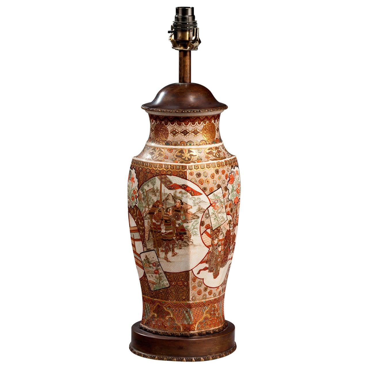 19th Century Satsuma Vase Lamp