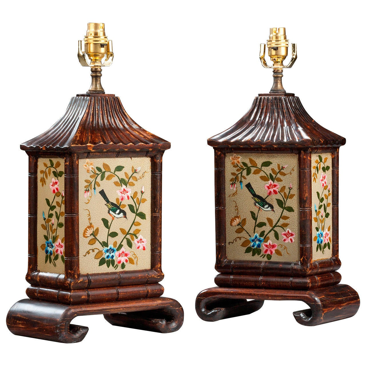 Pair of 20th century Bamboo Design Lamps