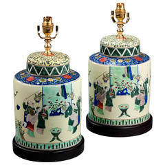 Pair of 20th century Lamps with Oriental Figures