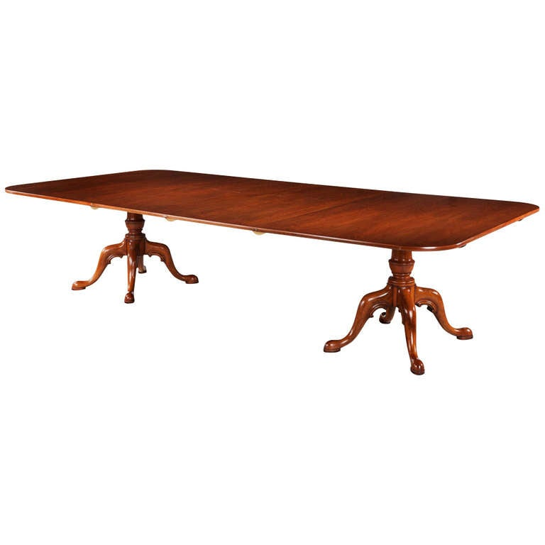 Mid 20th century mahogany two pillar dining table for sale for Pillar dining table
