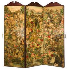 19th Century Three-Fold Decalcomania Screen