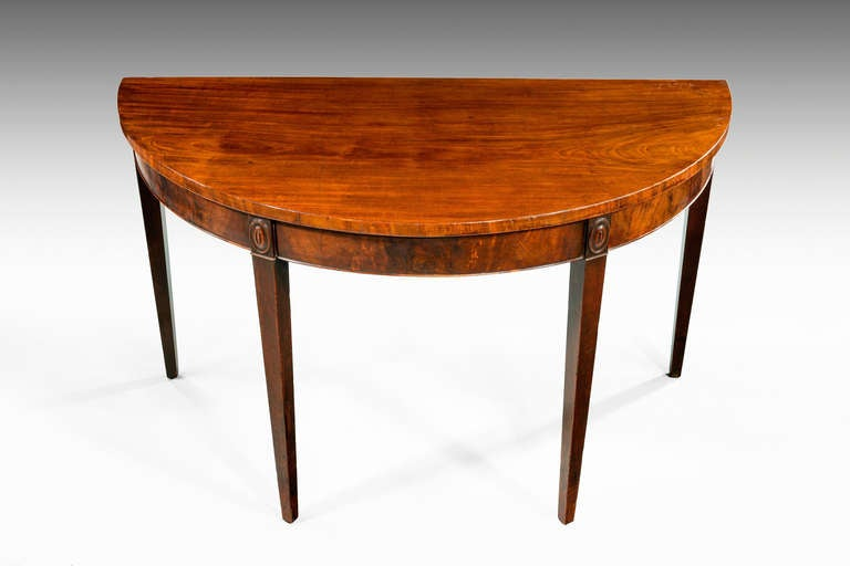 British George III Period Mahogany Demilune Serving Table For Sale