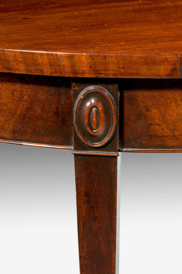 18th Century and Earlier George III Period Mahogany Demilune Serving Table For Sale