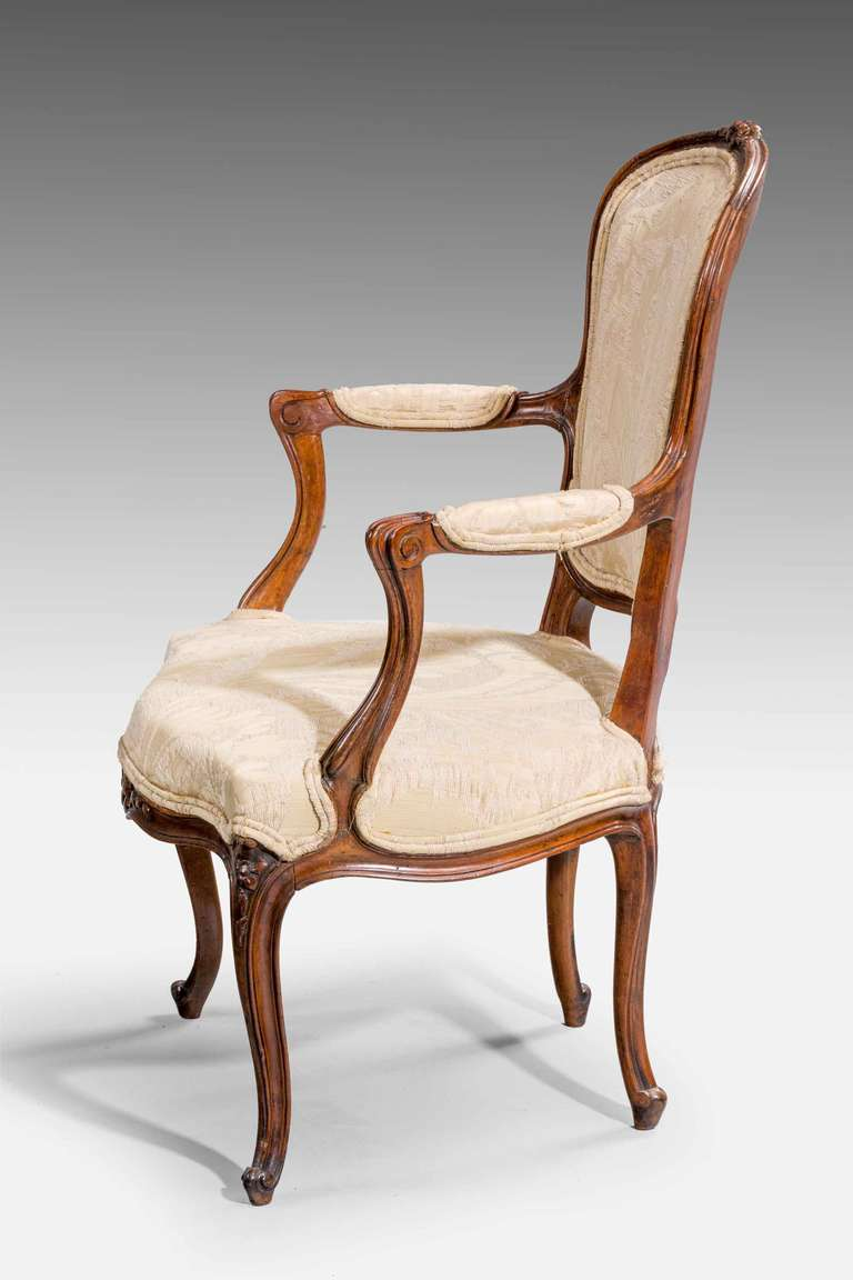 Pair of 18th century Louis XV period fauteuils, in overall excellent condition signed and stamped to the base ZONATTI.  A fauteuil is a style of open armchair with a primarily exposed wooden frame originating in France in the early 18th