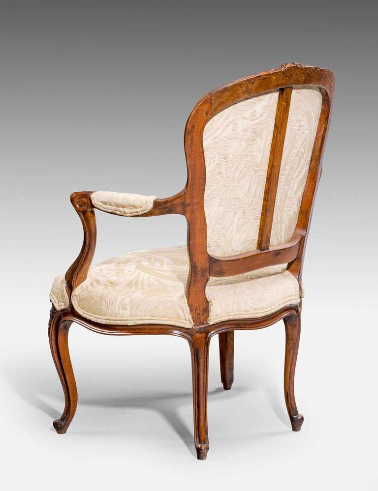 British Pair of 18th Century Louis XV Period Fauteuils For Sale
