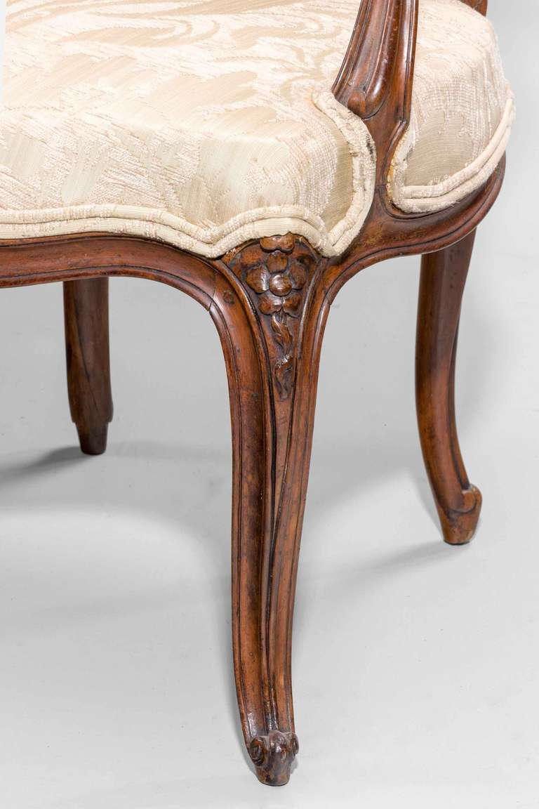 Pair of 18th Century Louis XV Period Fauteuils For Sale 1