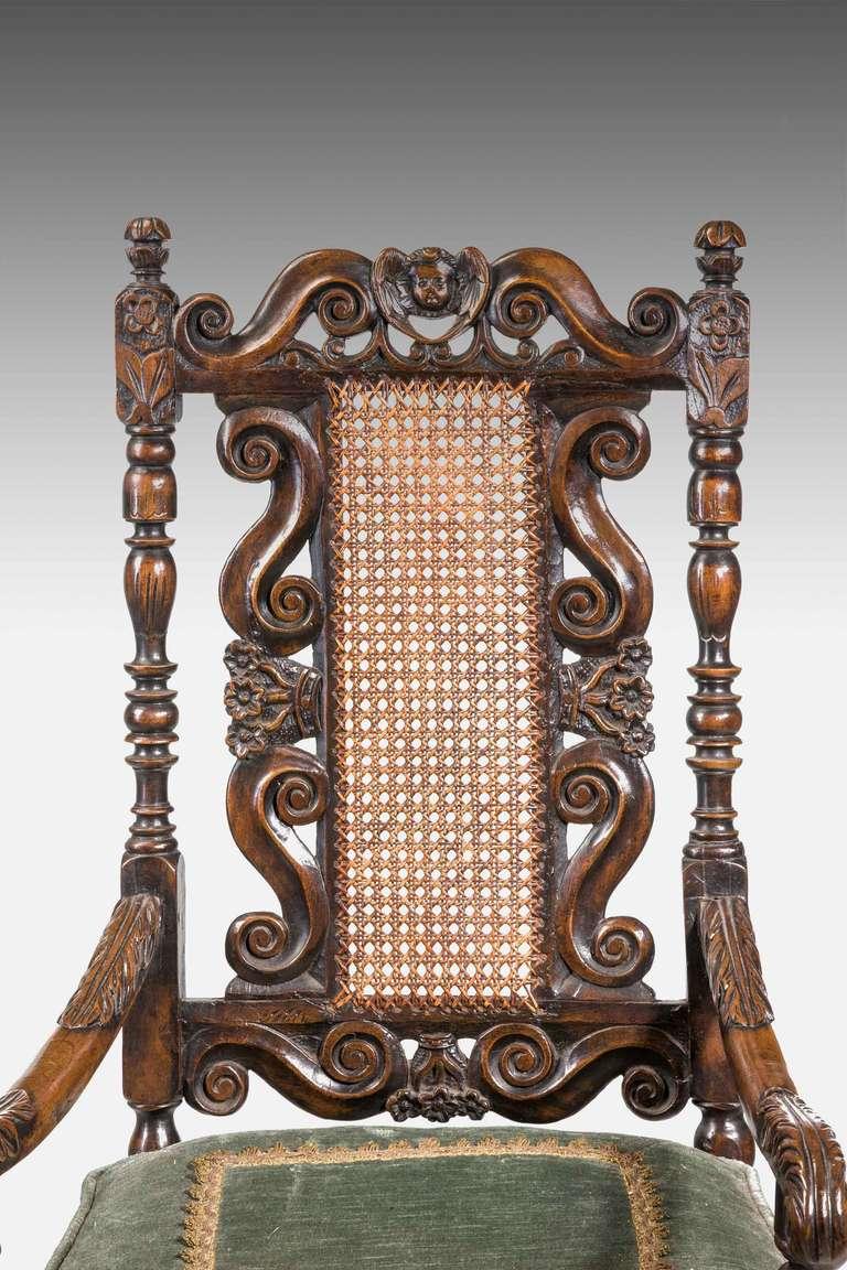British 17th Century Style Walnut Armchair For Sale
