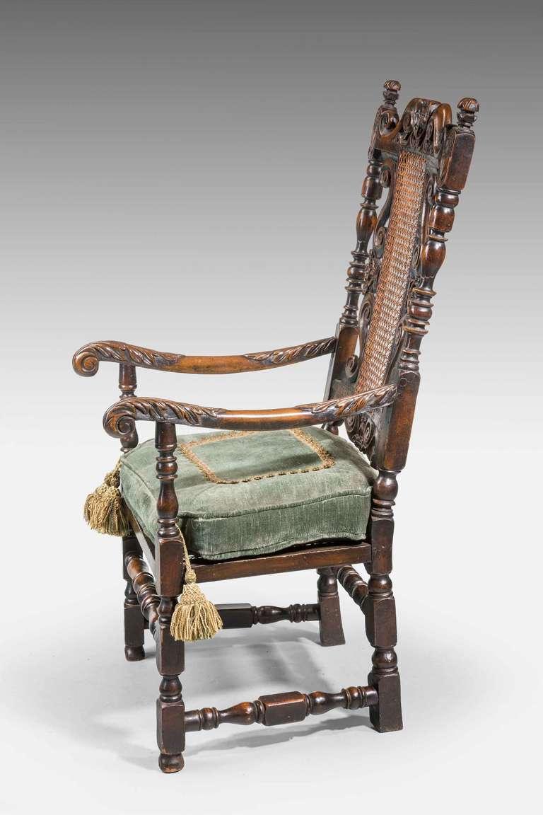 20th Century 17th Century Style Walnut Armchair For Sale