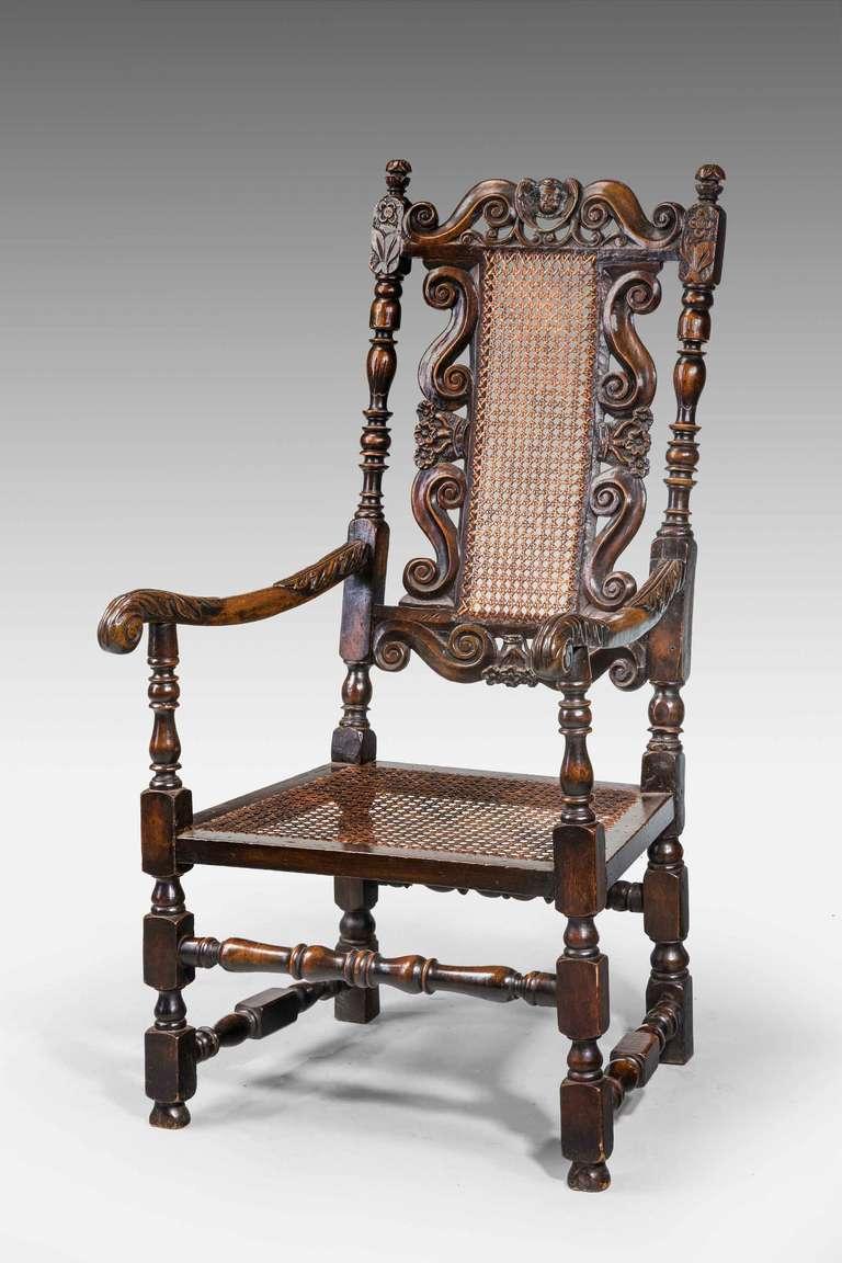 17th Century Style Walnut Armchair For Sale 2