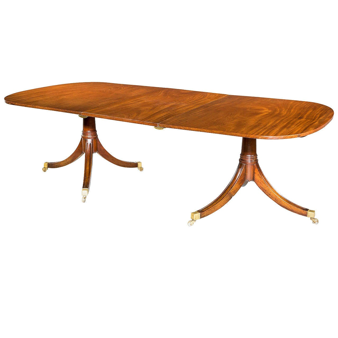 Early 20th century two pillar dining table for sale at 1stdibs for Pillar dining table