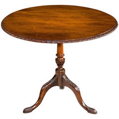 George III Period Mahogany Tilt Table with a Carved and Turned Centre Support