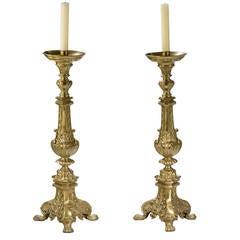 Massive Pair of 19th Century Gilt Brass Candlesticks