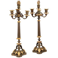 Pair of Bronze and Gilt Bronze Candelabra