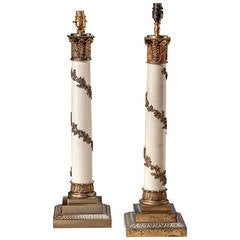 Pair of early 20th century Gilt Bronze Column Lamps