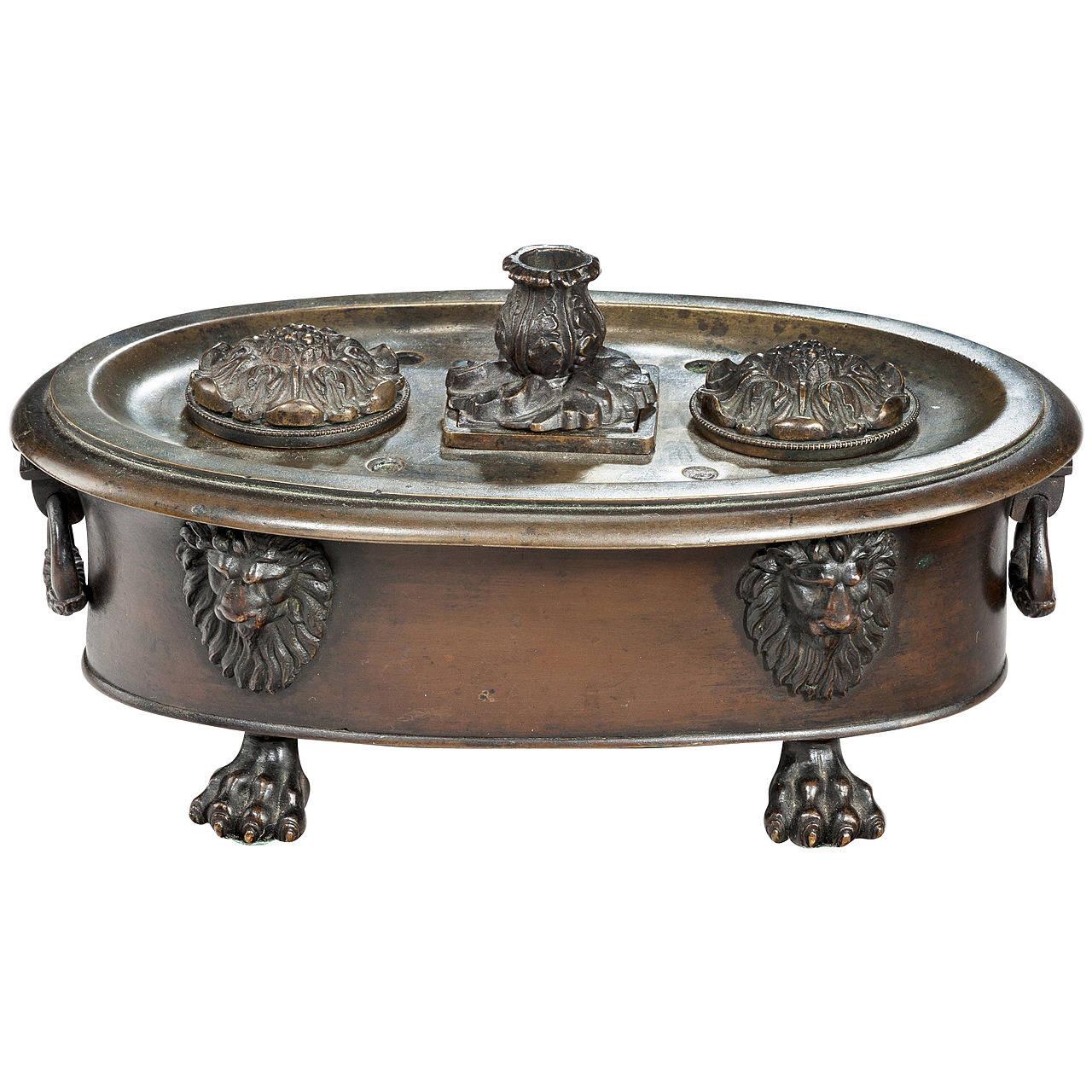 Regency Period Bronze Oval Encrier For Sale