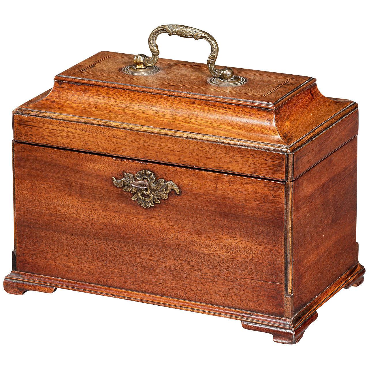 George III Period Mahogany Tea Caddy