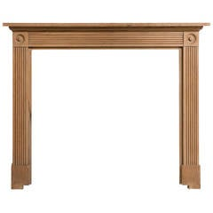 Early 20th Century Ribbed Pine Fire Surround