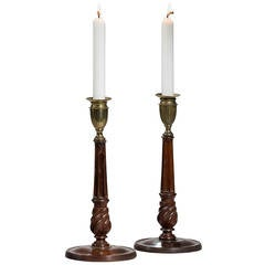 Pair of George lll Period Mahogany and Bronze Candlesticks