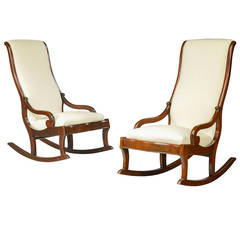 Pair of Mid-19th Century Mahogany Frame Rocking Chairs