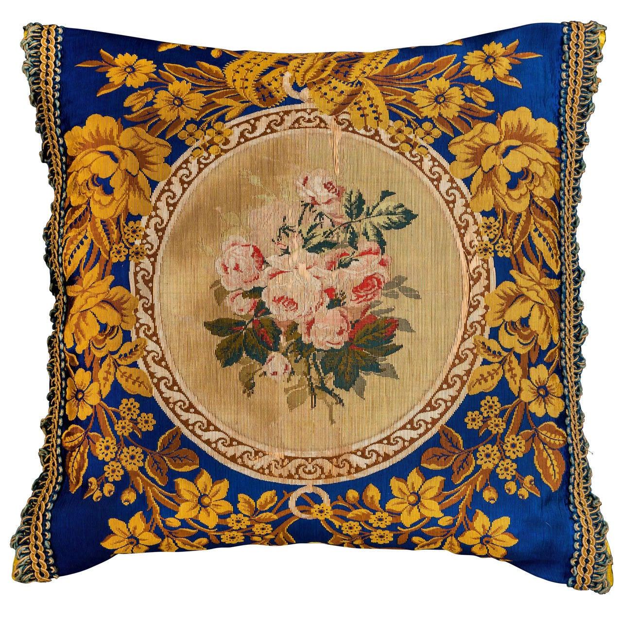 Cushion: Mid-19th Century, Silk. Machine Embroidered