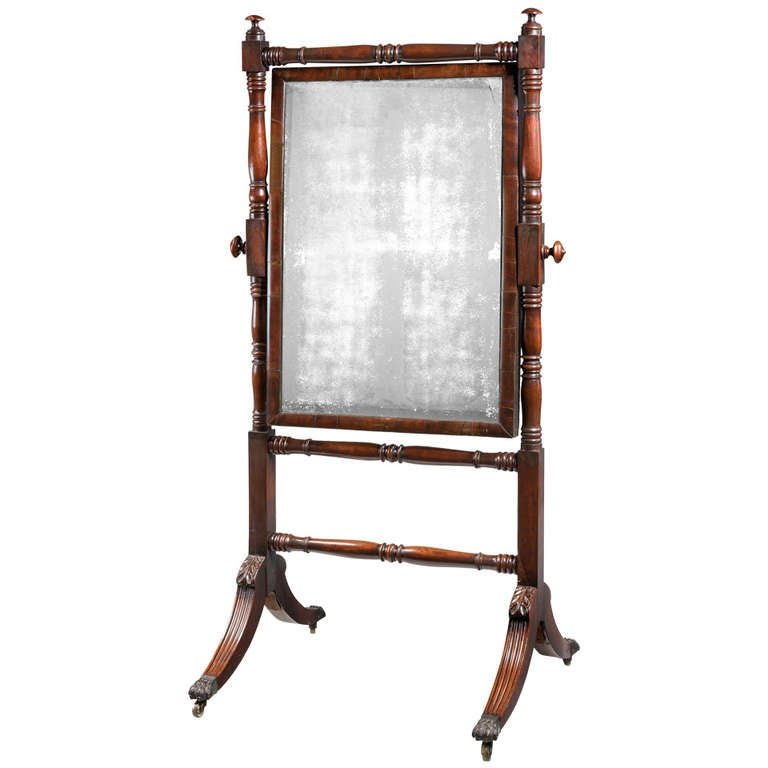 Regency Period Mahogany Cheval Mirror 1
