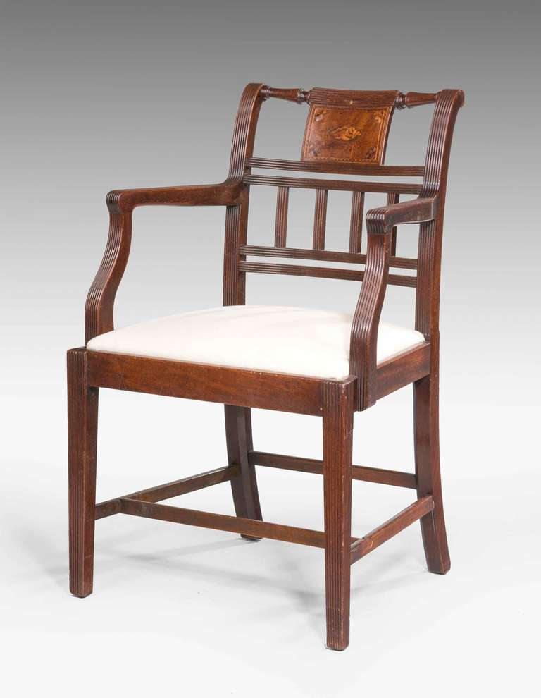 Pair Of 18th Century Sheraton Period Elbow Chairs For Sale At 1stdibs