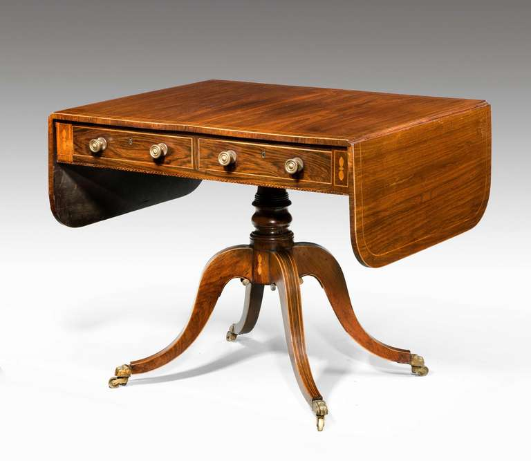 Regency period rosewood sofa table with line inlay at 1stdibs for Sofa central table
