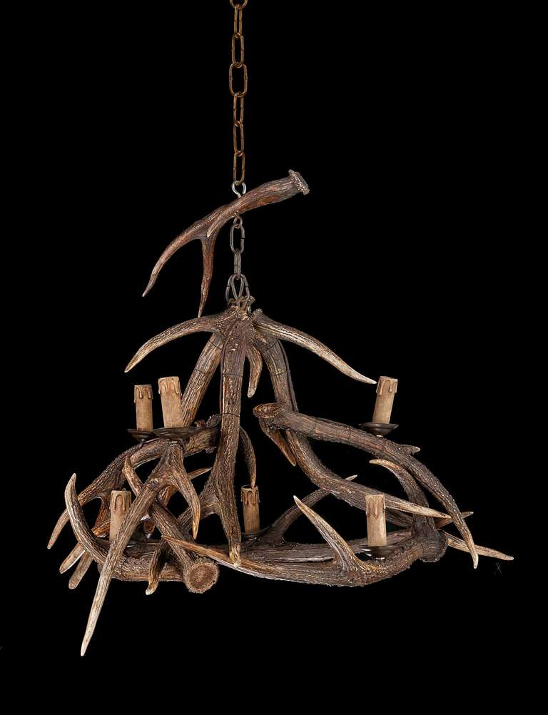 Early 20th Century Stag S Horn Six Light Chandelier For