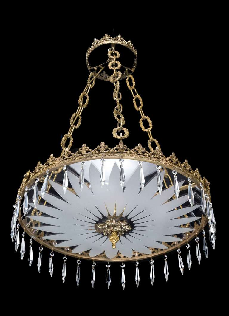 Regency style cut glass plafonnier with suspended cut for Plafonnier 3 suspensions
