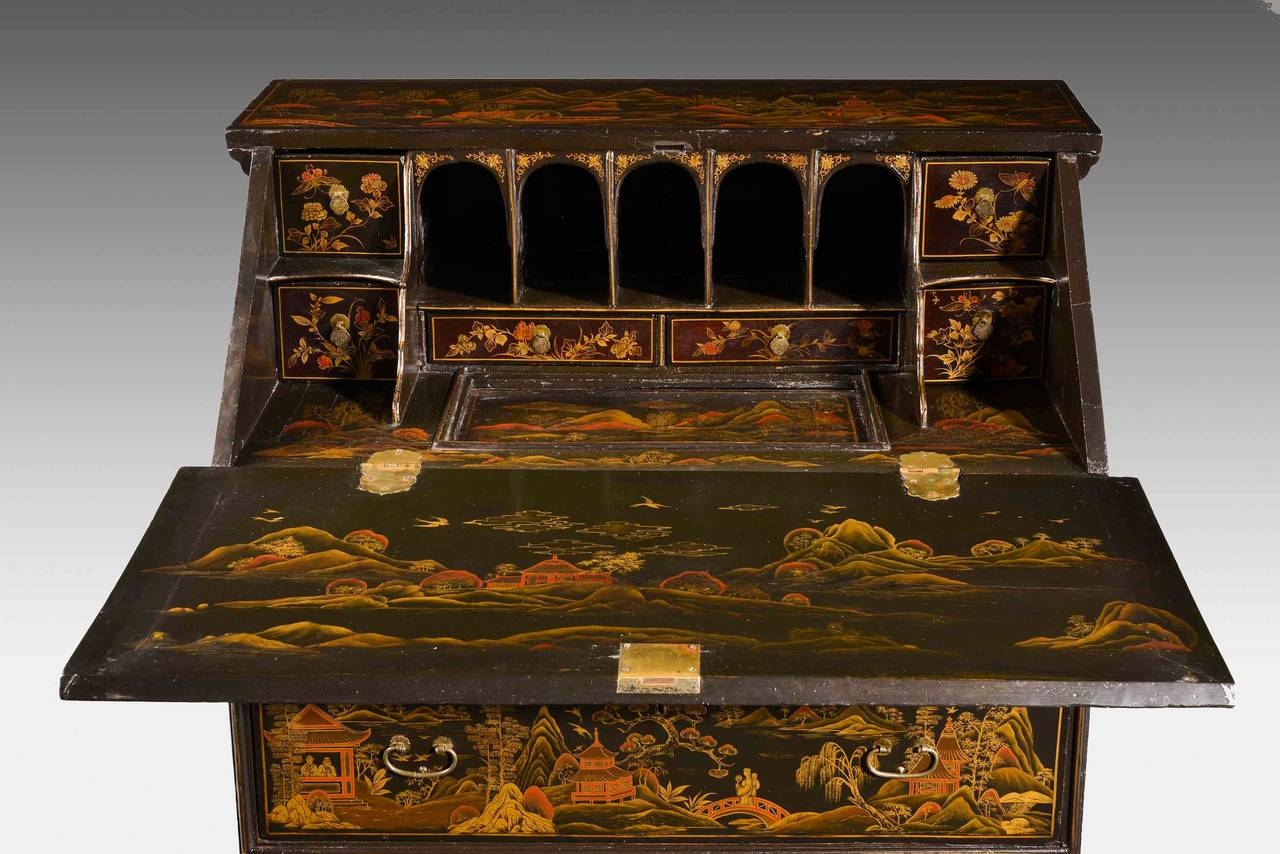 Fine and Rare Chinese Lacquered Writing Bureau For Sale 2