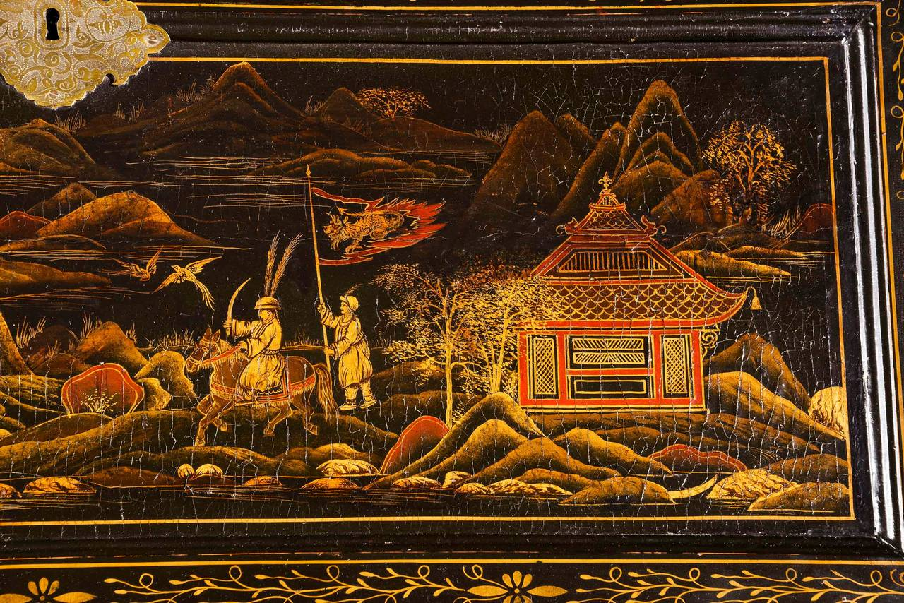 Fine and Rare Chinese Lacquered Writing Bureau For Sale 1