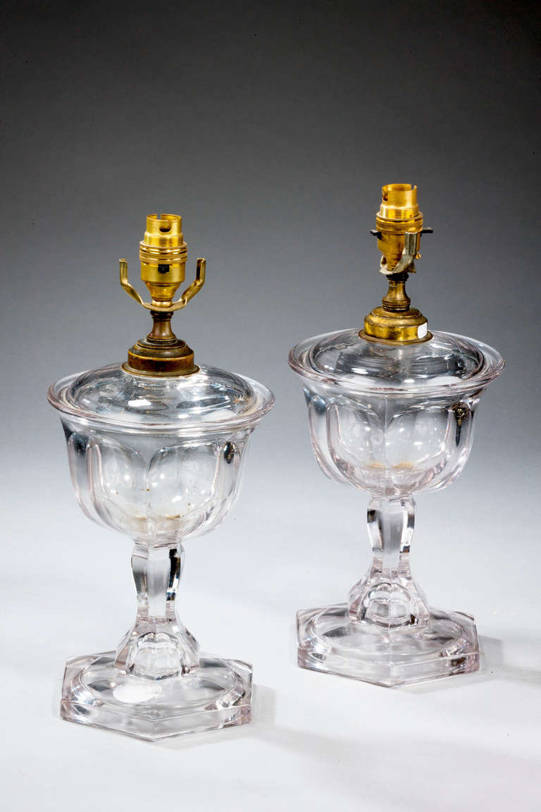 Pair of 1920s cut and moulded glass lamps, originally for oil.  Shades are not included in the price of our lamps. We do have a competitively priced range of shades for all of our lamps. Please ask for details with your inquiry or order.  RR.