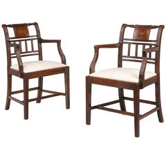 Pair of 18th Century Sheraton Period Elbow Chairs